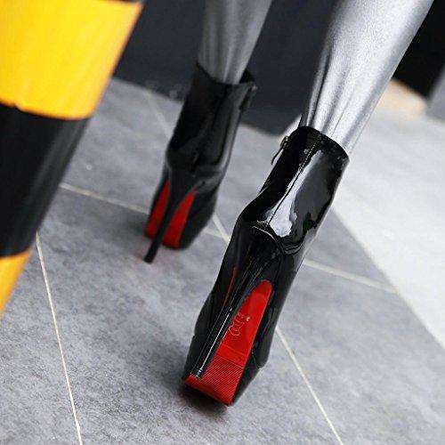 Estilete Pu Artificial Zapatos Botines Club Impermeable Tacón Alto Invierno Redonda Cabeza Mujeres Black Otoño Noche Nocturno Fgxqf1q
