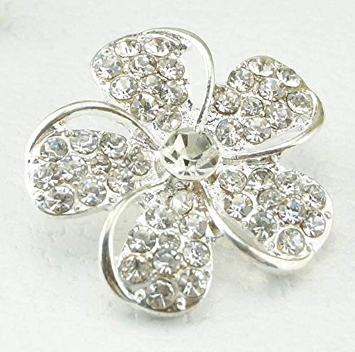 Maslin 100pcs Alloy Five-Petal Flower Rhinestone Buckle Button with Shank for Shrit Coat Cap Shoes Bag Crafts Sewing ()