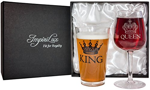 King Beer & Queen Wine Glass Set | Beautiful Affordable Gift for Newlyweds, Engagements, Anniversaries, Weddings, Parents, Christmas - Novelty Drinking Glassware