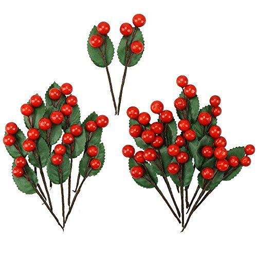 Shxstore Artificial Red Holly Leaves Berry Picks Stems Fake Winter Christmas Berries Decor For DIY Garland And Holiday Wreath Ornaments, 24 Branch (Winter Red Berry Wreath)