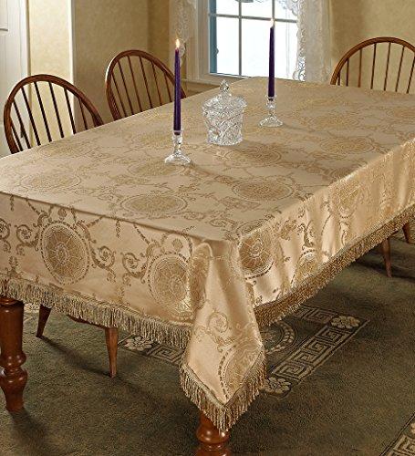 Violet Linen Prestige Damask Design Oblong/Rectangle Tablecloth, 60