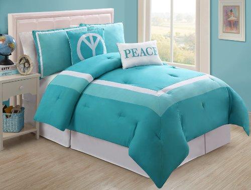 VCNY Hotel Juvi Comforter Set, 5-Piece, Full, Turquoise Peace
