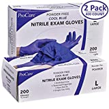 ProCure Disposable Nitrile Gloves - 2 Pack, Powder Free, Rubber Latex Free, Medical Exam Grade, Non Sterile, Ambidextrous - Soft with Textured Tips - Cool Blue (Large, 2 Pack, 400 Count)