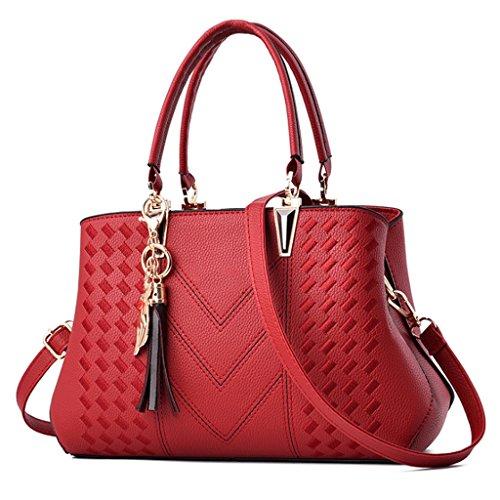 main Handbag Sac Cuir Bandoulière Tueur PU 5 Couleur à Grande À Fil Coudre Sac A Zipper Sac À Femme Capacité ER1rARnqx