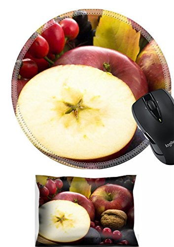 MSD Mouse Wrist Rest and Round Mousepad Set, 2pc Wrist Support design: 3729852 A basket of multi colored leaves with apples Arm Multi Leaf