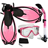 Promate Snorkeling Scuba Dive Panoramic PURGE Mask Dry Snorkel Fins Gear Set, Pink, ML/XL