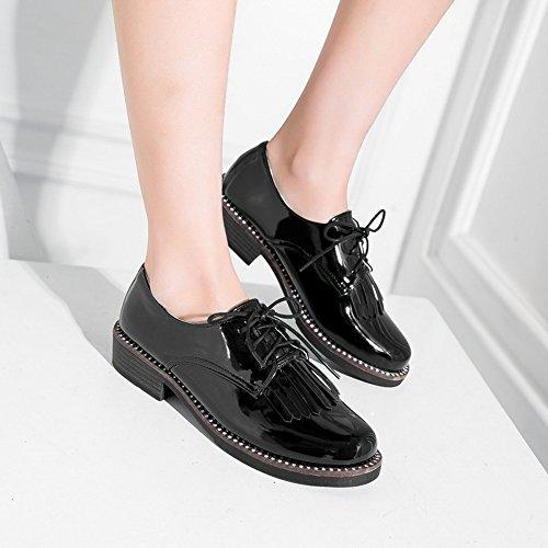 COOLCEPT Damen Mode Schnurung Court Schuhe Black