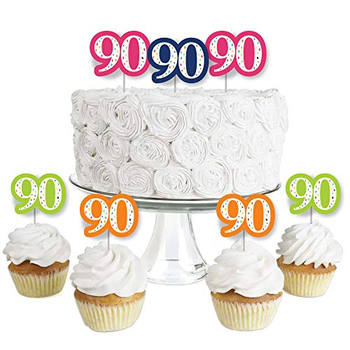 Colorful 90th Birthday Cupcake Toppers