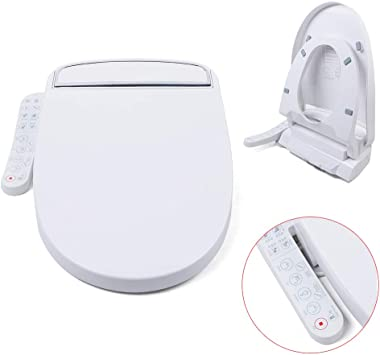 Ayx 05 Electronic Smart Bidet Toilet Seat Electronic Heated Toilet Seat Cleansing Warm Water And Heated Seat For Round Toilets With Warm Air Dryer And Temperature Controlled Wash Functions White Amazon Com
