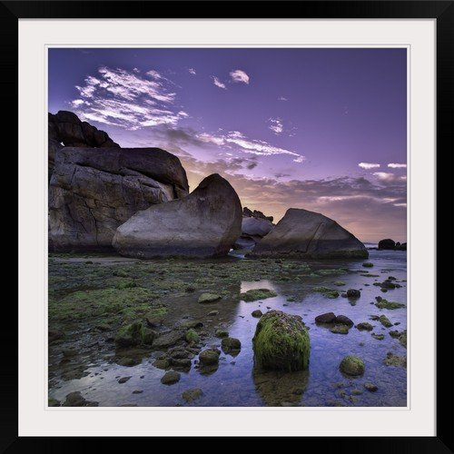 GreatBIGCanvas ''Green sea moss on coral rocks in low tide in Vinh Hy Bay, Thai An village, Vietnam.'' Photographic Print with Black Frame, 30'' x 30''