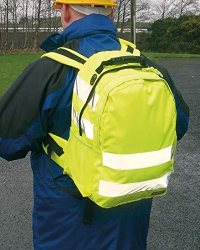 Portwest Hi-Vis Rucksack(25L) Hi Vis Viz Work Bag Backpack Reflective Safety, Yellow ()