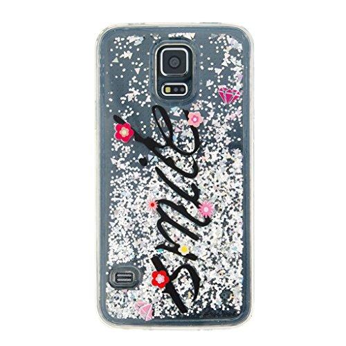 Trumpshop Smartphone Carcasa Funda Protección para Samsung Galaxy S5 + Atrapasueños + TPU 3D Liquido Dinámica Sparkle Estrellas Quicksand Resistente a arañazos Caja Protectora Smile