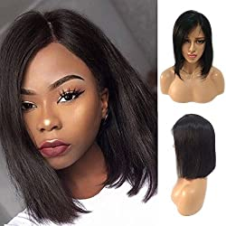 Human Hair Lace Front Bob Wigs Side Part Short Lace Frontal Wigs with Bangs Off Black Glueless Shoulder Length Human Hair Wig Straight Hair 10'' 1B Natural Black