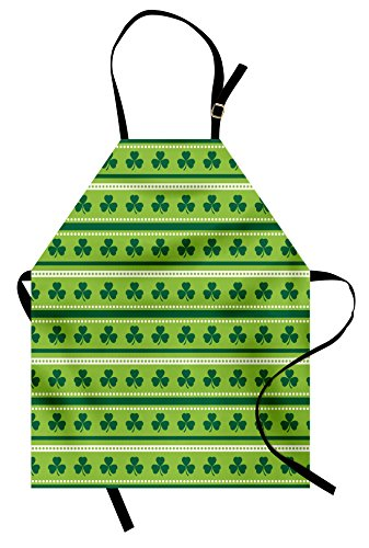 Ambesonne Green Apron, Traditional Irish Pattern with Clovers Happy St. Patrick's Day Theme, Unisex Kitchen Bib Apron with Adjustable Neck for Cooking Baking Gardening, Lime Green Dark Green White