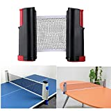 DerBlue Portable Retractable and Adjustable Table Tennis Net Rack/ Replacement Ping Pong Net Accessory(black+red)