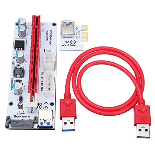 008S USB3.0 PCI-E Express 1x to 16x Extension Cable Extender Riser Card For 8 GPU Graphics Cards - Computer Components Mining Computer & Tools