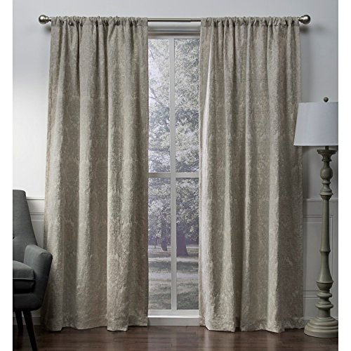 "Exclusive Home Curtains Damask Chenille Jacquard Medallion Blackout Rod Pocket Curtain Panel Pair, 108"" Length, Taupe"