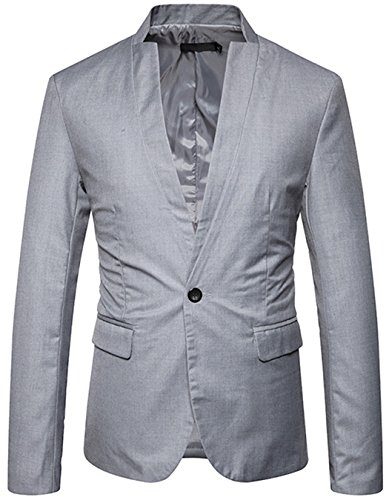 JASSYOY Mens Slim Fit Stand Collar Center Vent Blazer Coats Jackets Light Gray