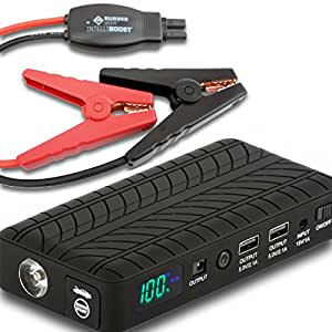Rugged Geek INTELLIBOOST 600A Portable Vehicle Jump Starter and Power Supply with LCD Display. USB Laptop Charging. Emergency Auto Jump Pack Battery Booster for Cars, Trucks, SUVs and more.