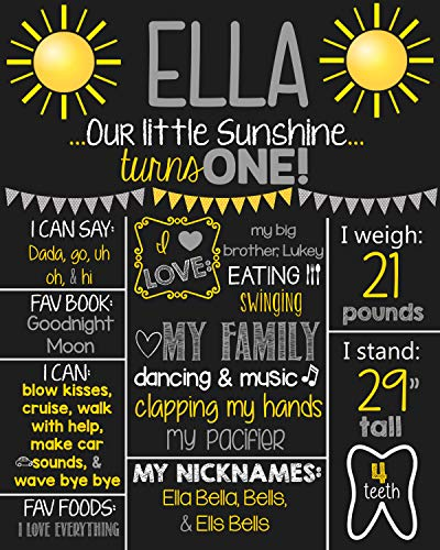 Dozili Personalized You are My Sunshine Chalkboard Style Metal Sign- Printable 1st Birthday Chalkboard Style Metal Sign- Birthday Board- Personalized Custom Sign- Boys Any Age for $<!--$14.99-->