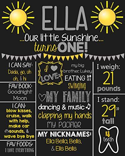 Dozili Personalized You are My Sunshine Chalkboard Style Metal Sign- Printable 1st Birthday Chalkboard Style Metal Sign- Birthday Board- Personalized Custom Sign- Boys Any (Halloween Jokes Printable)
