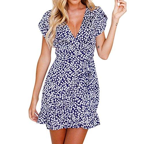 TOTOD Womens Sexy Dress Floral Summer Print Short Sleeve V Neck Summer Mini Evening Party Dress (M, Blue)