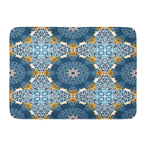 Rug Rectangle Gold Antique (Emvency Bath Mat Table Red Moroccan Vintage Traditional Ottoman Motifs Colorful in Mosaic Ethnic Style Oriental Ancient Bathroom Decor Rug 16