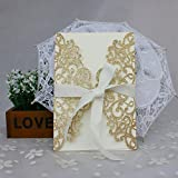 50-Pcs Exquisite Carving Wedding Invitation Kits with Silk Ribbon, Party Invitations wedding Birthday Invitation Cards Gold
