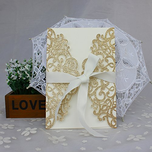 Exquisite Wedding Invitations - 50-Pcs Exquisite Carving Wedding Invitation Kits with Silk Ribbon, Party Invitations wedding Birthday Invitation Cards Gold