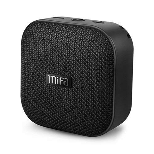 MIFA Bluetooth Speakers, A1 Portable Wireless Soundbox, IP56 Dustproof Waterproof, 12-Hour Playtime, Built-in Mic, TF Card Slot, Loud DSP Sound Enhanced Bass, Woven Fabric Black
