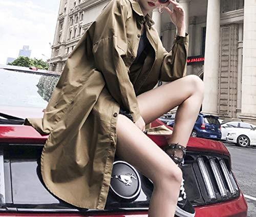 Allentato Tendenza Irregolare Cachi Stampa Trench Uniforme Autunno Deed Giacca Lunga Femminile Militare 4qIvaa