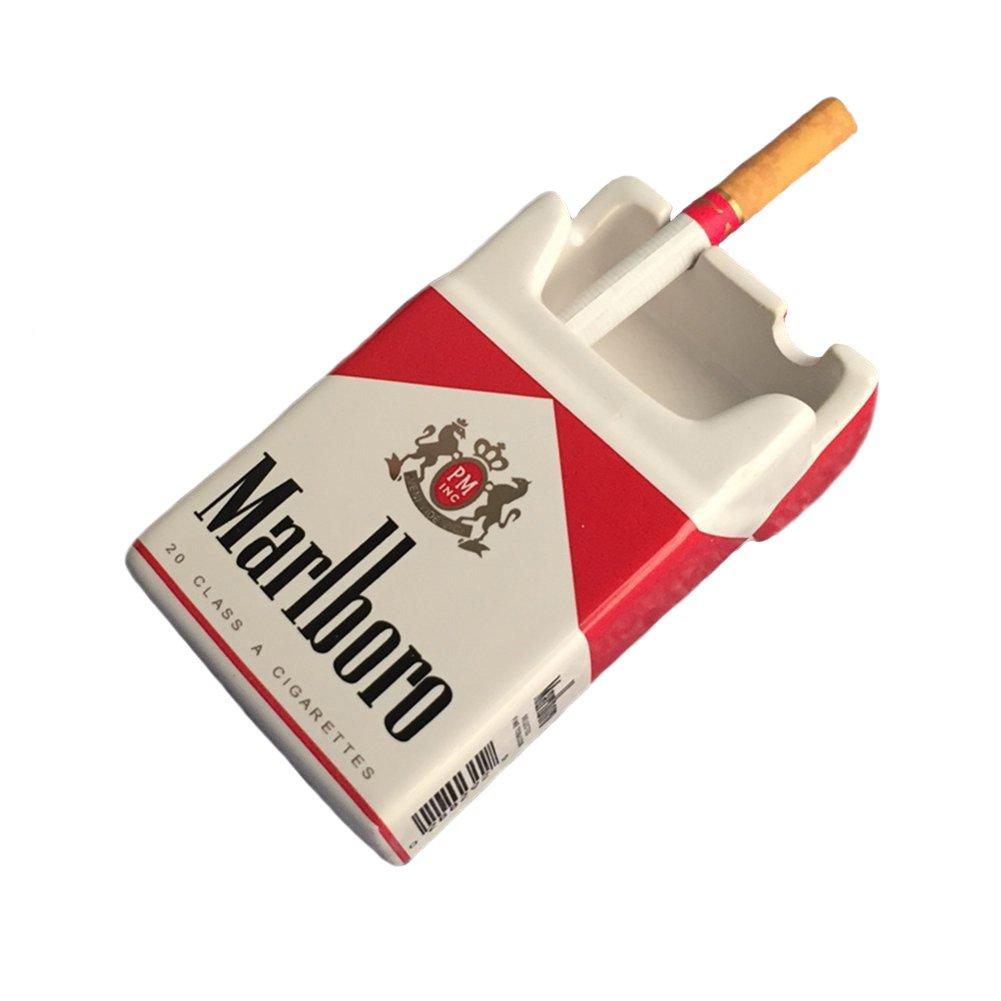 YOURNELO Creative Cute Cratoon Cigarette Case Marlboro Ceramic Cigarette Ashtray for Home Car (Marlboro Red)