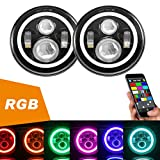 7'' LED Headlights Bulb RGB Halo Angel Eye with Bluetooth Remote for 1997~2017 Jeep Wrangler JK LJ CJ Sahara Sport Rubicon Hummer H1 H2 Headlamp Driving Light DRL