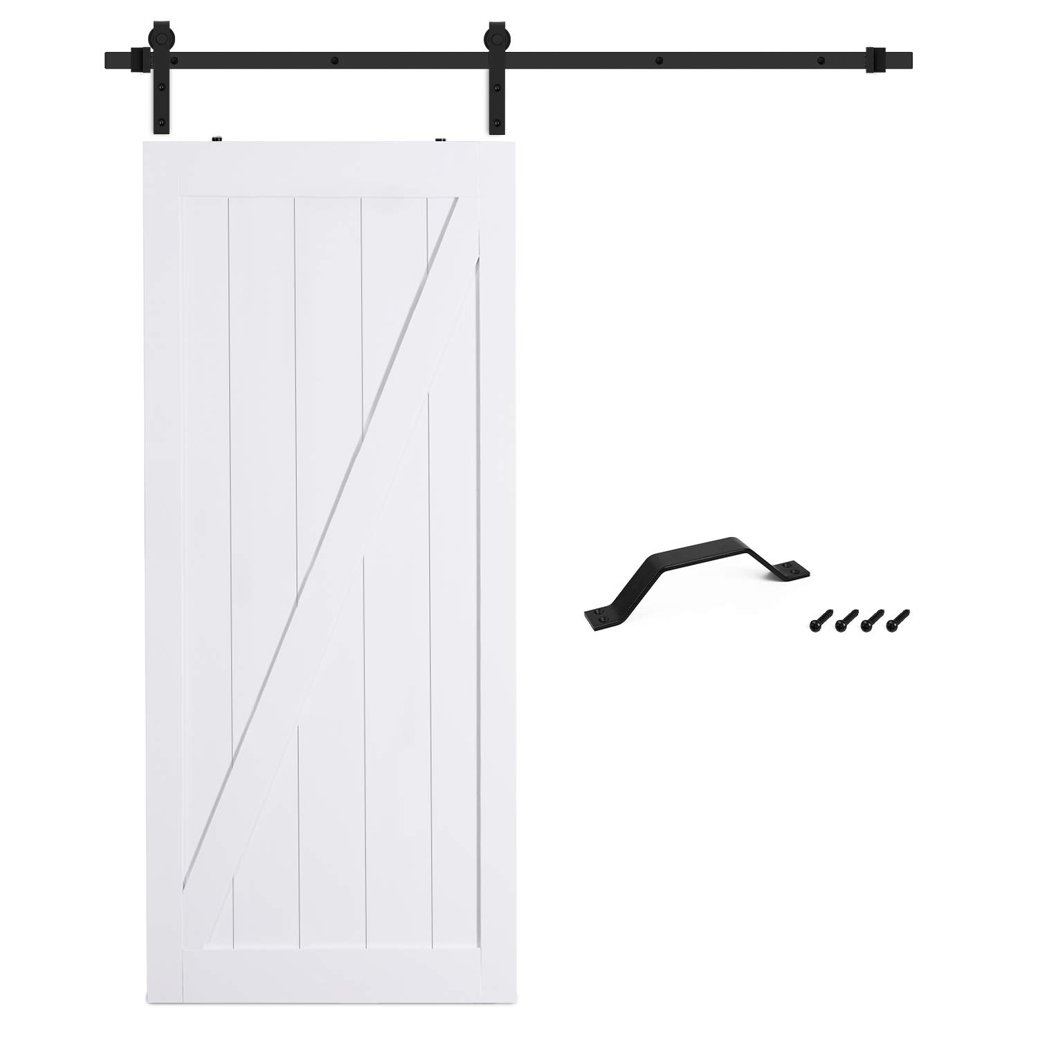 SMARTSTANDARD 36in x 84in Sliding Barn Door with 6.6ft BarnDoor Hardware Kit & Handle, Pre-Drilled Ready to Assemble Wood Slab Covered with Water-Proof PVC Surface (White Z-Frame Panel), by SMARTSTANDARD (Image #3)