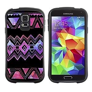 "Hypernova Slim Fit Dual Barniz Protector Caso Case Funda Para Samsung Galaxy S5 [Púrpura Negro Arte Hecho a mano""]"