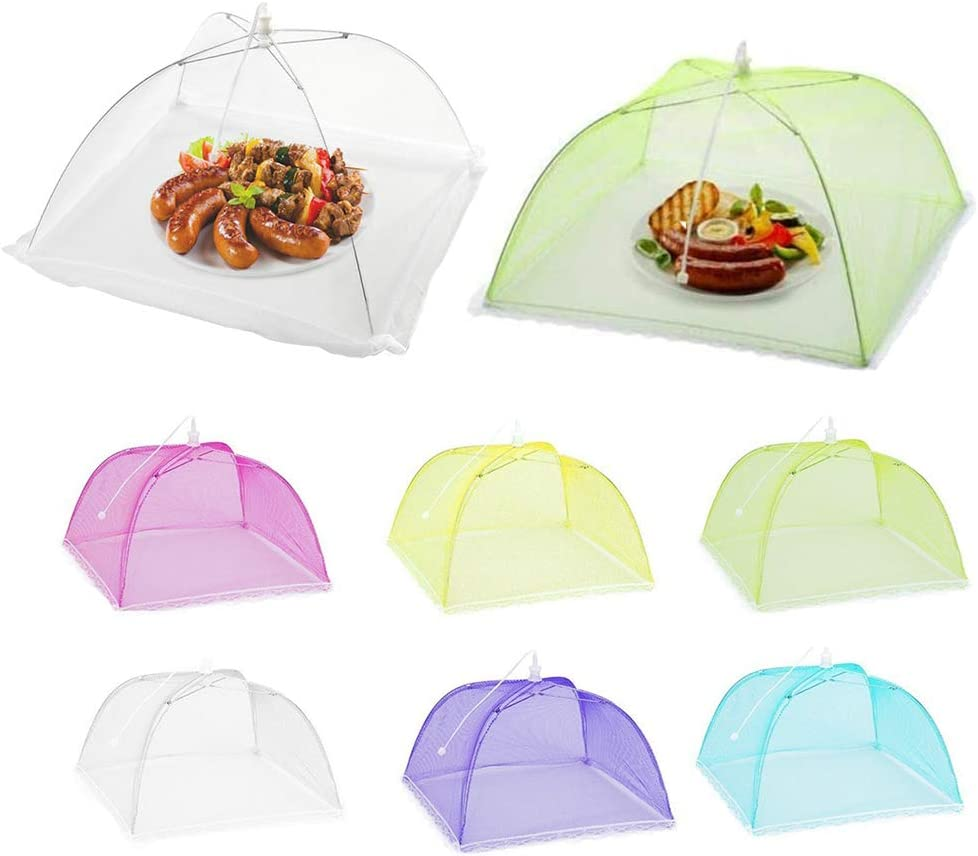 8 Pack Food Cover Food Tent,Colored Large Pop-Up Mesh Food Cover Tent,17 Inches Food Protector Covers Reusable and Collapsible For Parties Picnics, BBQs