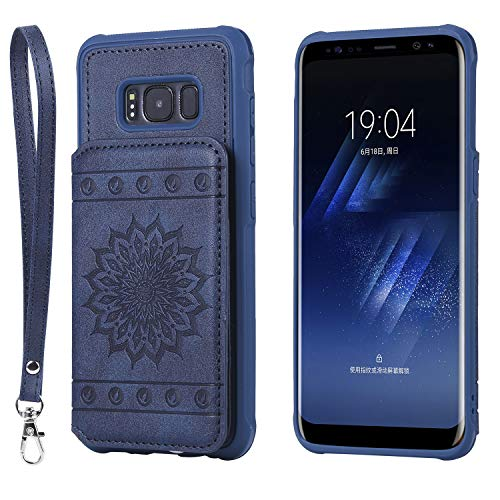 Galaxy S8 Case,DAMONDY Luxury Flower Sunflower Wallet Purse Card Holders Design Cover Soft Shockproof Bumper Flip Leather Kickstand Clasp Wrist Strap Case for Samsung Galaxy S8 ()