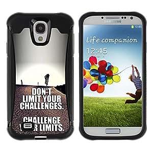 Suave TPU Caso Carcasa de Caucho Funda para Samsung Galaxy S4 I9500 / challenge your limits inspirational text / STRONG