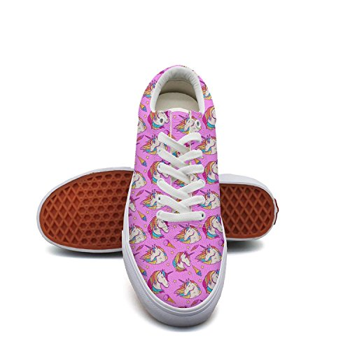 Milr Gile pink unicorn head ice cream Print Sneaker Flat Canvas Shoes for Womens Stylish