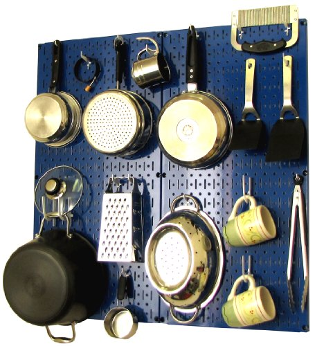 (Wall Control Kitchen Pegboard Organizer Pots and Pans Pegboard Pack, Blue/White)