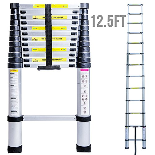 num Telescopic Extension Ladder,Extendable Folding Multi-Purpose Ladder Max 330 lbs. Capacity (Dock Ladder 1 Step Extension)