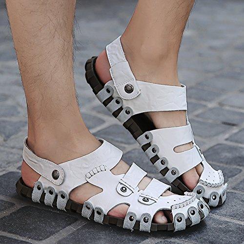 Xing Lin Flip Flop De La Playa Sandalias De Conducción Hombres Verano British Baotou Zapatos Casual Masculino Calzado De Playa 022 White MingTai