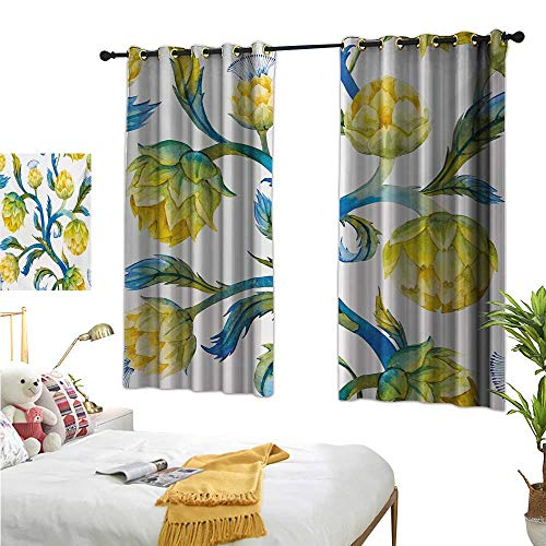 Warm Family Eclipse Curtains Artichoke,Watercolor Abstract Flowers Natural Foods Organic Way of Life,Violet Blue and Earth Yellow 63