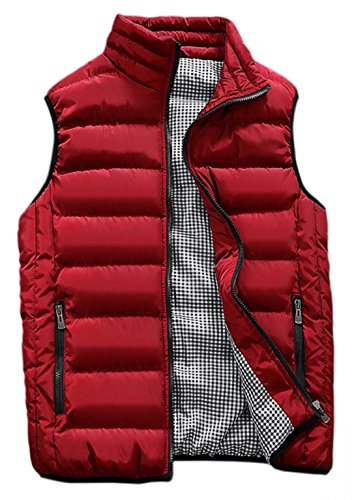 HOWON Mens Classic Quilted Down Puffer Vest Red S (Red Puffer)