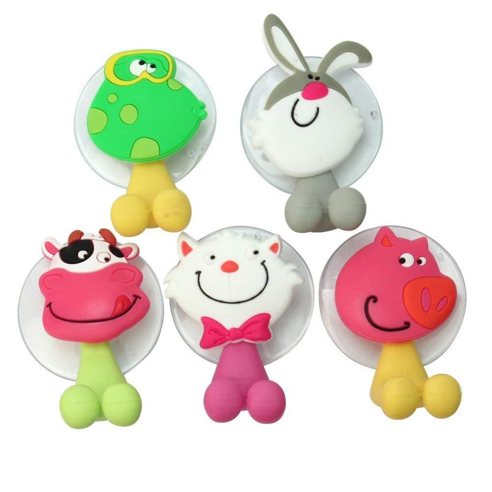 5pezzi Spazzolino da denti titolare animali cartoon Aspirapolvere gancio in plastica per bambini nuovo dolce