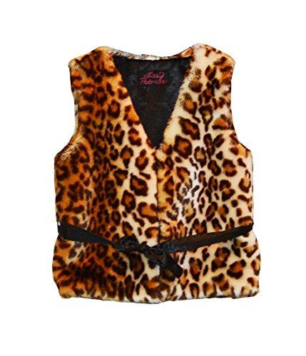 Big Girls Brown Leopard Faux Fur Coat 10-12