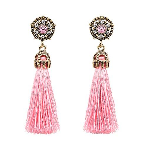 Women Vintage Earring Hollow Crystal Tassel Dangle Stud Earrings (Light pink)