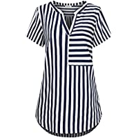 Faddare Women Short Sleeve Blouse Stripe Notch V Neck Curved Hem Shirts Tops