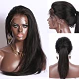 "Luduna Brazilian Straight Hair Lace Frontal Wigs with Baby Hair 8a 100% Unprocessed Human Hair Wigs for Black/White Women (18"", Natural Color)"