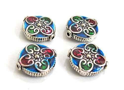 4 BEADS - Round flat disc silver color enamel inlaid floral heart with sun design beads - ()